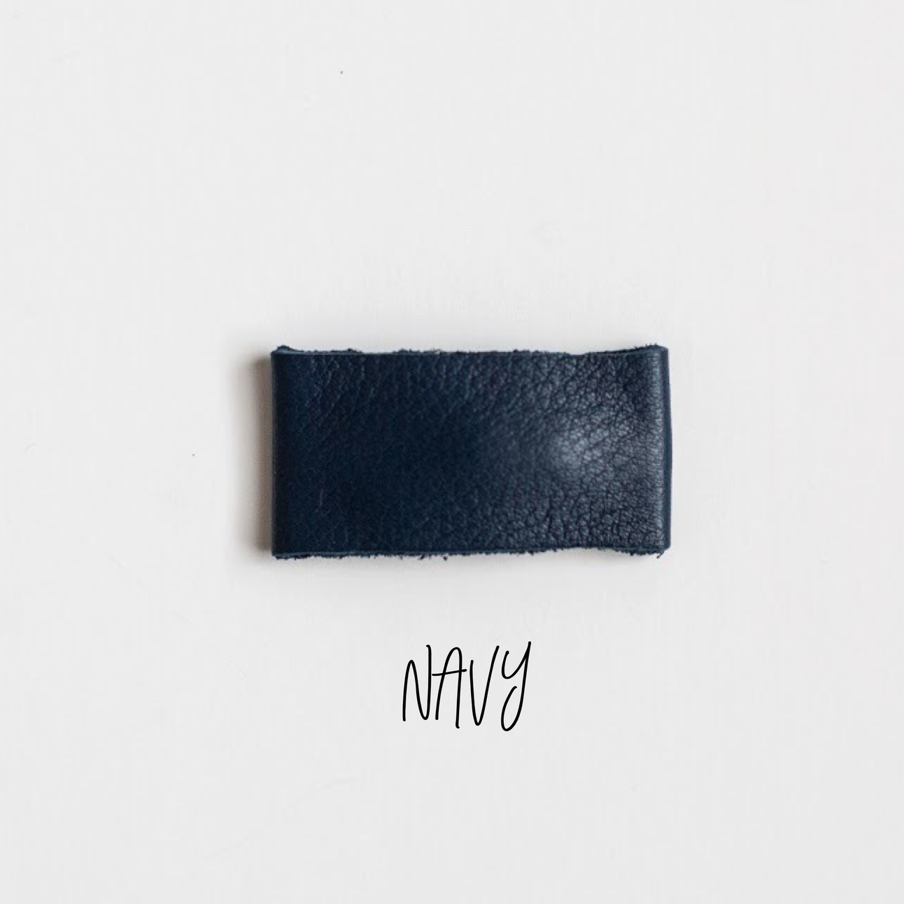 Navy Leather Snap Clip