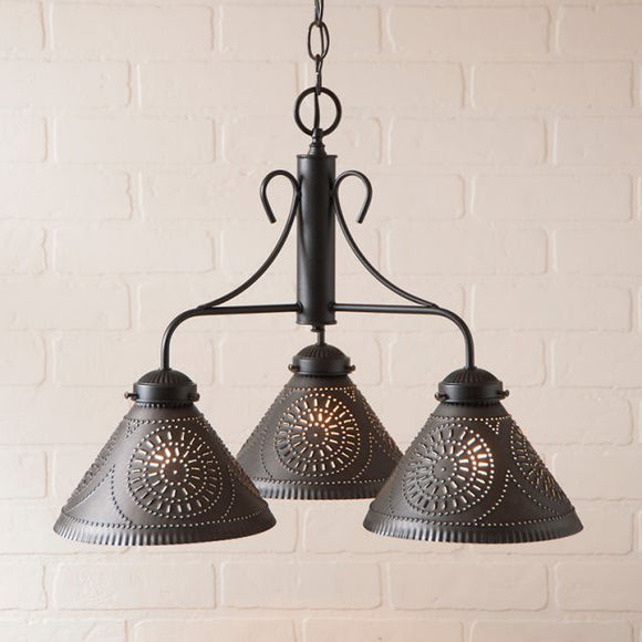3-Arm Barrington Chandelier in Kettle Black - Made in USA