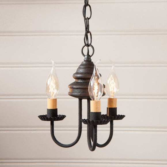 3-Arm Bellview Wood Chandelier in Americana Black - Made in USA
