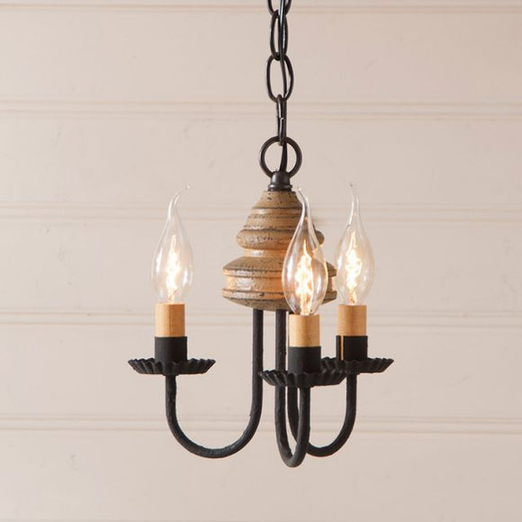 3-Arm Bellview Wood Chandelier in Americana Pearwood - Made in USA