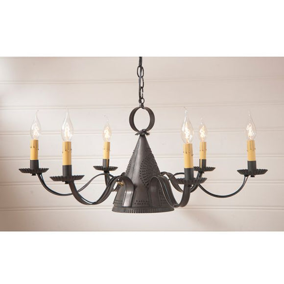 6-Arm Madison Chandelier in Kettle Black - Made in USA