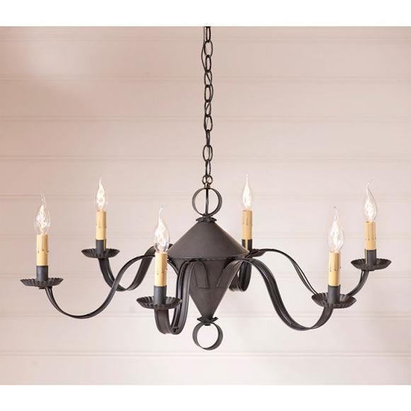 6-Arm Public House Chandelier in Kettle Black - Made in USA