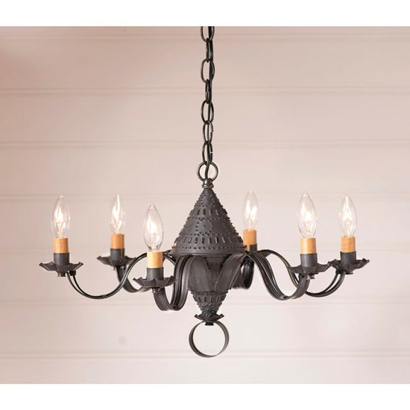 6-Arm Small Concord Chandelier in Kettle Black - Made in USA