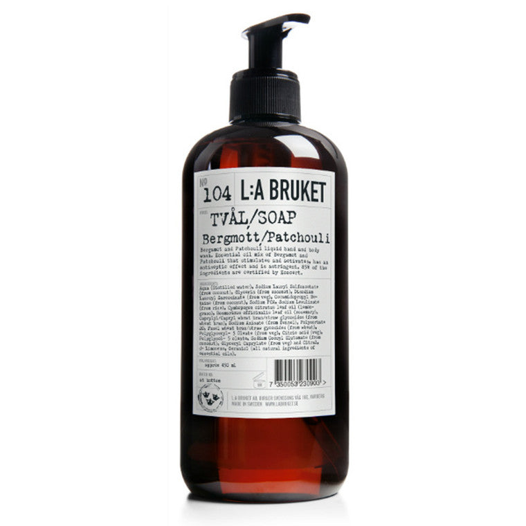 LA Bruket hand and body wash Bergamot/Patchouli 450ml svare studio frederikshavn