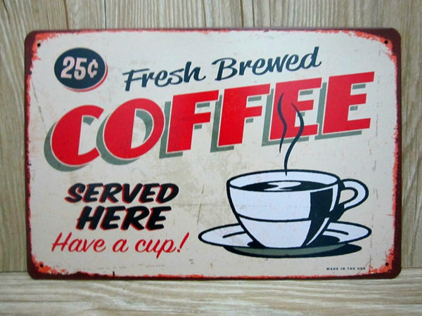 Red Metal Tin Sign - MyCoffeeBrew