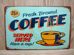 Blue Metal Tin Sign - MyCoffeeBrew