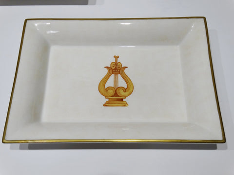 "Labrazel Vanity Bath Porcelain Tray with center Ancient Harp 8.5"" x 6.5"""