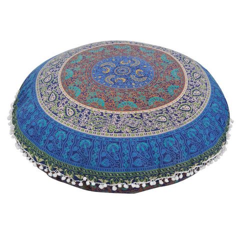 Bohemian vintage style round decorative throw pillow cover