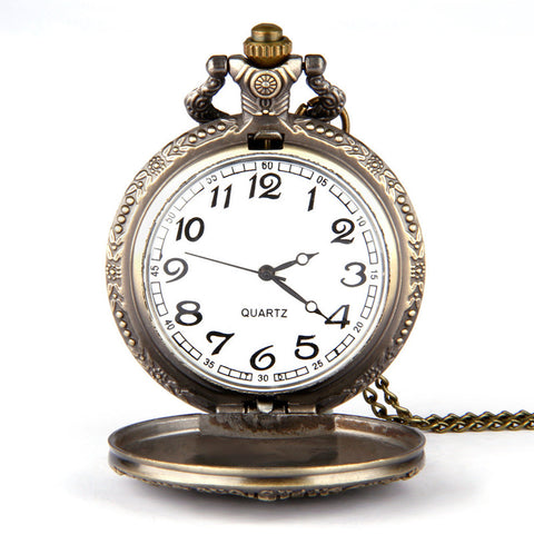 Reproduction Vintage Bronze Great Wall Pendant Quartz Pocket Watch