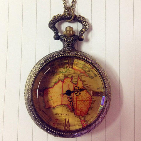 Retro Reproduction Antique Chain AU Map Necklace Pendant Pocket Watch