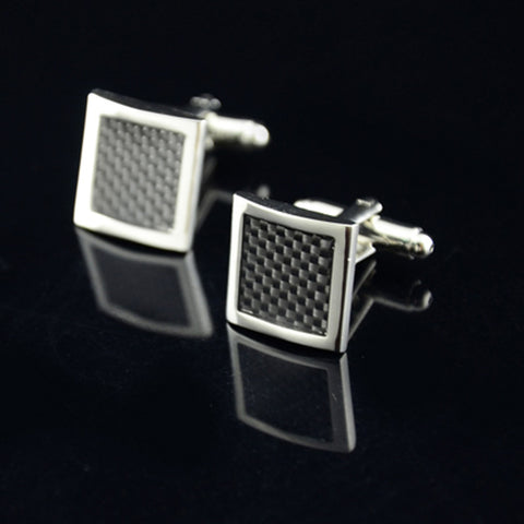 Reproduction Stainless Steel Silver Square Vintage Men's Cuff Links