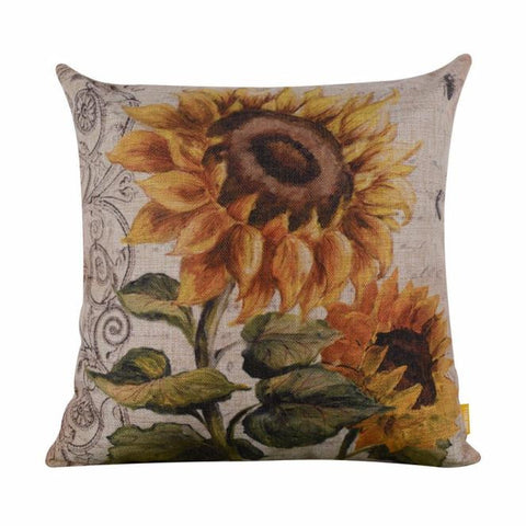 Vintage Style Linen Sunflower Square Throw Pillow Case 45 x 45