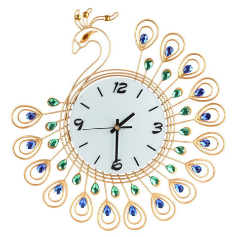 Reproduction Luxury Vintage Art Metal Peacock Silent Dazzling Wall Clock