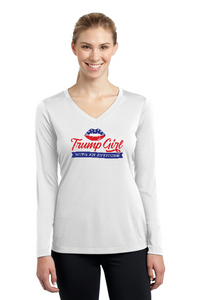 Trump Girl Lips With an Attitude Ladies' Long Sleeve V-Neck Tee