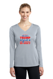 Yes I'm a Trump Girl Get Over It Ladies' Long Sleeve V-Neck Tee