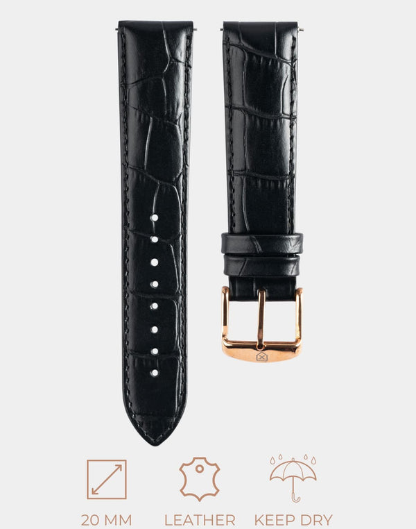 The Good Black Strap, Rose Gold Buckle