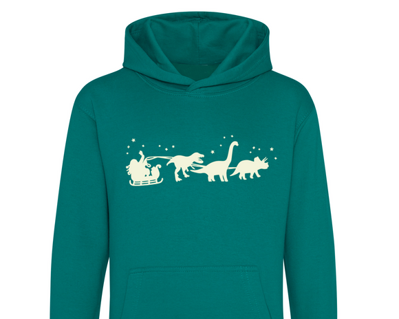 Glow in the Dark Christmas Dinosaur Kids Hoodie