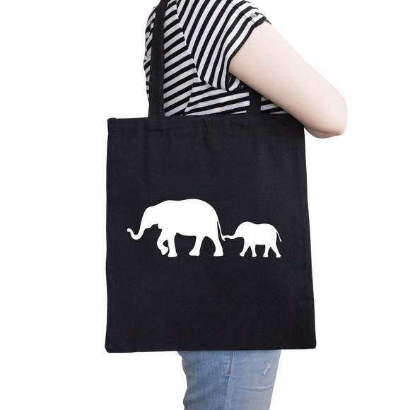 Elephant Tote Bag, Reusable Cotton Bag