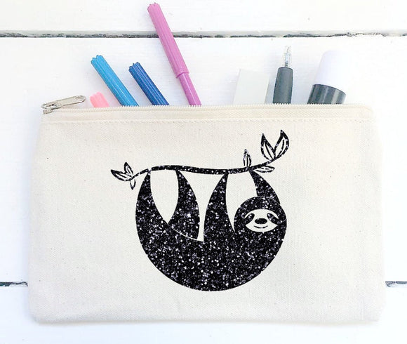 Sloth Pencil Case, Canvas Pencil Pouch