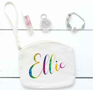 Personalised Canvas Wristlet, Large Wristlet Pouch