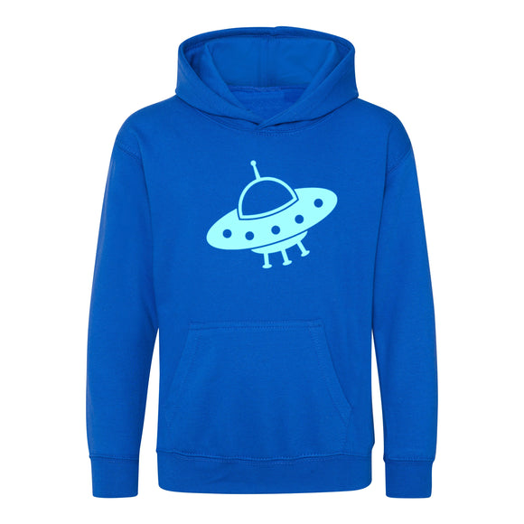 Glow in the Dark Space Ship Kids Hoodie