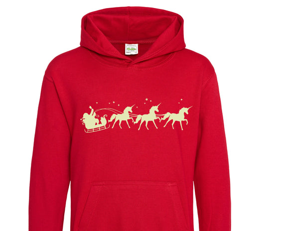 Glow in the Dark Christmas Kids Hoodie, Children's Christmas Sweater, Unicorn Sweatshirt, Santa and his Unicorns