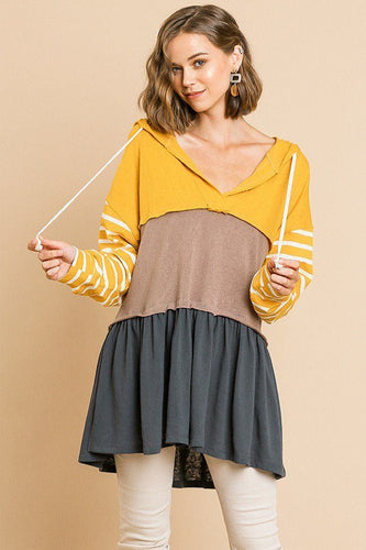 Yellow Striped Long Sleeve Hooded Tunic