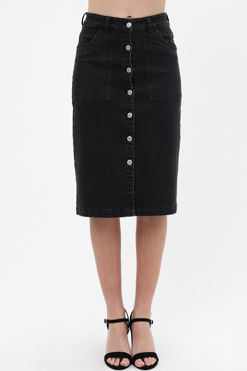 Denim Mid Thigh Skirt W/ Button Down