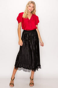 Lace Trim Accordion Pleated Midi Skirt