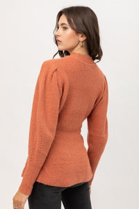 2 Tone Tweed Puff Sleeve Sweater