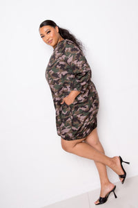 Camo Bubbled Poplin Dress