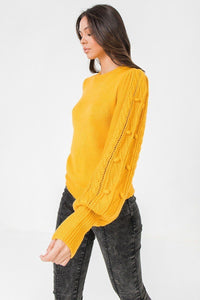 Sweater w/ Puff Sleeves and Wide Cuffs