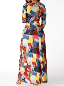 Color Block Half Sleeve Women's Maxi Dress