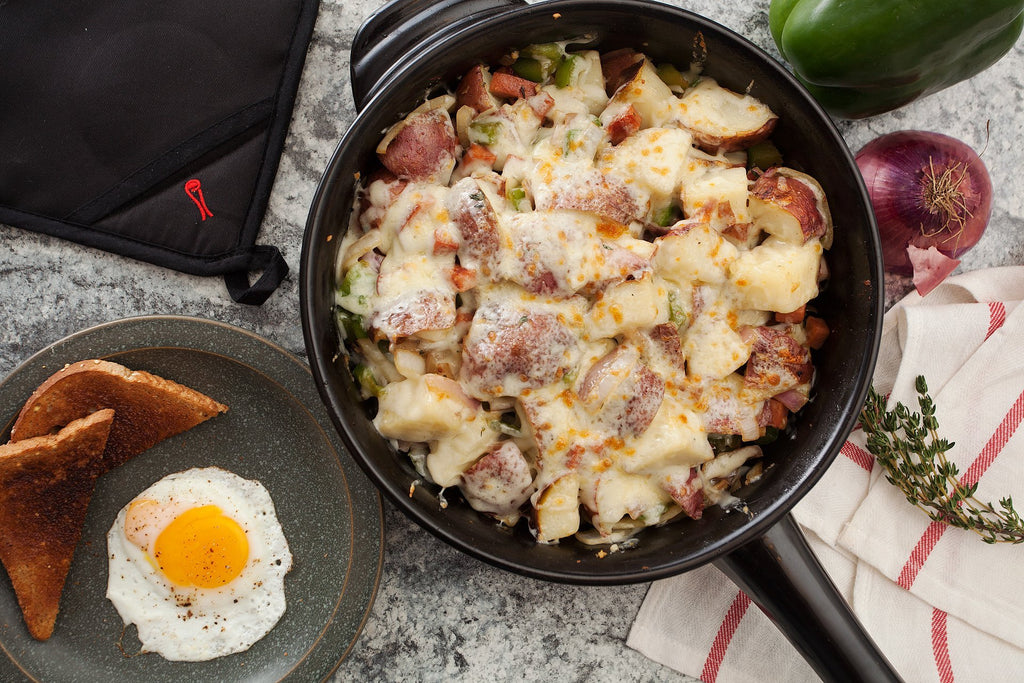 Cheesy Fried Ham Potato Skillet