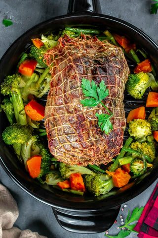 Roast cooked and served in an Xtrema Traditions Skillet