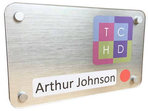 Personalised, brushed silver dementia friendly sign design with words and pictures