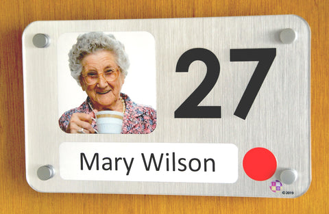 Personalised bedroom sign for dementia and elderly care homes