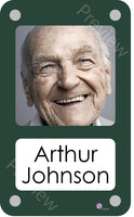 Dark green coloured personalised pictorial care home bedroom sign with name