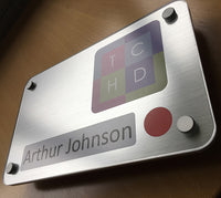 Personalised brushed silver pictorial bedroom sign design for dementia, elderly, alzheimers and residential care homes