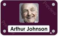 Burgundy coloured personalised pictorial care home bedroom sign with name