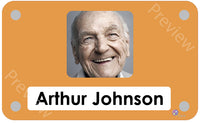 Orange coloured personalised pictorial care home bedroom sign with name