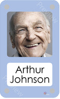 Mid blue coloured personalised pictorial care home bedroom sign with name