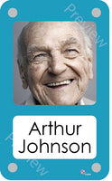 Cyan coloured personalised pictorial care home bedroom sign with name