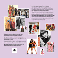 Reminiscence display artwork illustrating mens and womens fashion from the 1960's and 70's and a brief story about the fashion designer Mary Quant