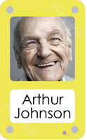Yellow coloured personalised pictorial care home bedroom sign with name