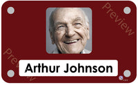 Red coloured personalised pictorial care home bedroom sign with name