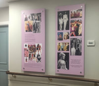 Reminiscence display artwork illustrating mens and womens fashion from the 1960's and 70's and the influence that popular culture had on fashion, including images of pop stars of the era