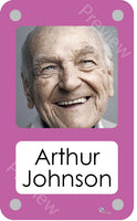 Pink coloured personalised pictorial care home bedroom sign with name