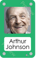 Green coloured personalised pictorial care home bedroom sign with name
