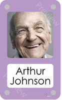 Lilac coloured personalised pictorial care home bedroom sign with name